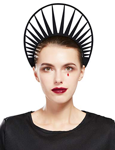 Fantherin Damen Mary Halo Haarreif Heiligenschein Krone Sonnengott Cosplay Halo Stirnband Karneval Kopfschmuck Damen Halloween Fasching Kostüm Haar Accessoires (Schwarz)