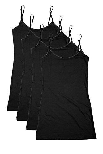 Bozzolo RT1002 PK Ladies Adjustable Spaghetti Strap Long Tank Top 4Pack -Black S