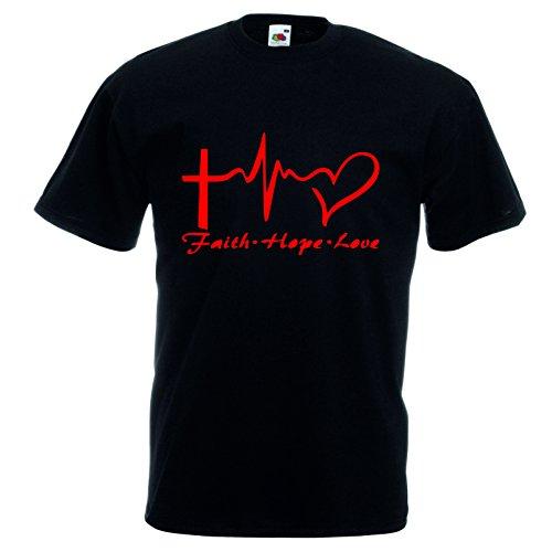 pazza idea T-Shirt Maglia Cotone Donna Uomo Nera Disegno Rosso Croce Cuore Faith Hope Love (S)