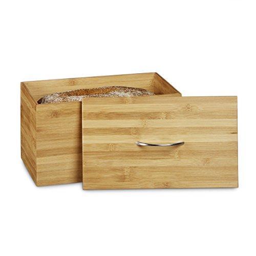 Relaxdays Brotkasten Bambus als Brotbehälter HBT: 23 x 36 x 21 cm Brottopf für Brot Brötchen und Kuchen als Brotbox aus Holz Brotaufbewahrung als Brotdose Brotkiste für Aufbewahrung für Brot, natur