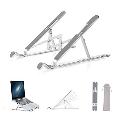 Farinido Adjustable Laptop Stand, Ergonomic Laptop Riser Holder for Desk, Aluminum Foldable Laptop Cooling Stand Notebook Tray Mount for Macbook, Notebook Computer, Tablet