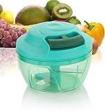 Yellow Leaf Products Vegetable Fruit Nut Onion Chopper, Hand Meat Grinder Mixer Food Processor Slicer Shredder Salad Maker Vegetable Tools (350 ML - Black)