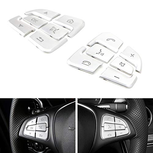 iJDMTOY Premium Satin Silver 12pc Steering Wheel Control/Button Decoration Trims Compatible With 2015-up Mercedes W205 C-Class X205 GLC-Class