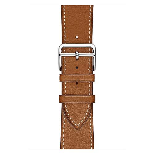 YMYGCC Correa Reloj Fashon El Bucle de Cuero más Nuevo de Fashon para la Serie para SE 6 5 4 3 2 1 44mm Correa para la Banda de Reloj 38mm 42mm 40mm 711 (Band Color : Brown, Band Width : 42mm)