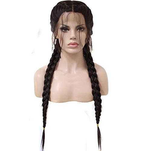 Anogol Hair Cap+Long Double Braids 2# Natural Black Synthetic Braided Lace Front Wig with Baby Hair Wigs Heat Resistant Fiber Middle Part