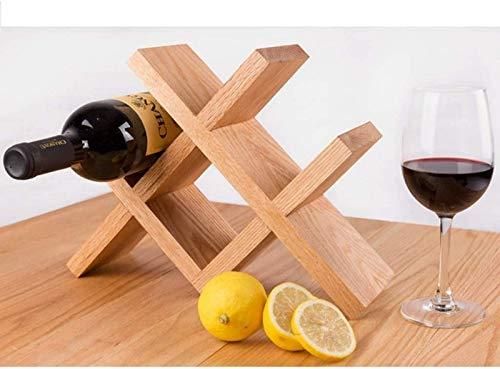 JBNJV Estante para vinos Estante para Copas de Vino en Forma de Diamante Estante para Vino de Madera de bambú, de pie, Elegante y Moderno, de Mesa, con Ranuras de Almacenamiento para Botellas de v