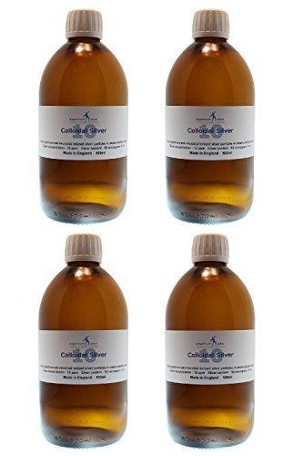 argentum plus - Argento Colloidale 10ppm - 4 x 500 ml - confezionato in vetro ambrato con un misurino da 15 ml