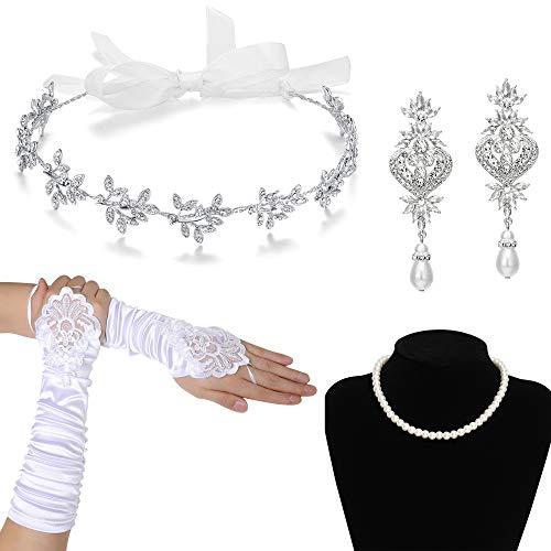 Coucoland Bruiloft Bruid Set Vrouwen Bruid Bruiloft Kostuum Accessoires Bloemen Kristal Hoofdband Oorbellen Ketting Bruid Witte Handschoenen voor Bruiloft Party