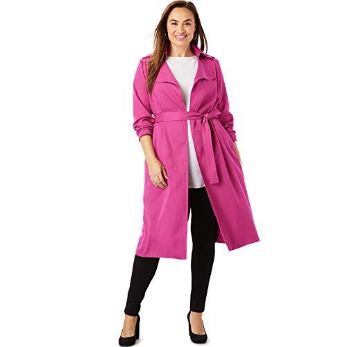 Jessica London Women's Plus Size Tencel Open Trench Coat - 16 W, Bright Berry