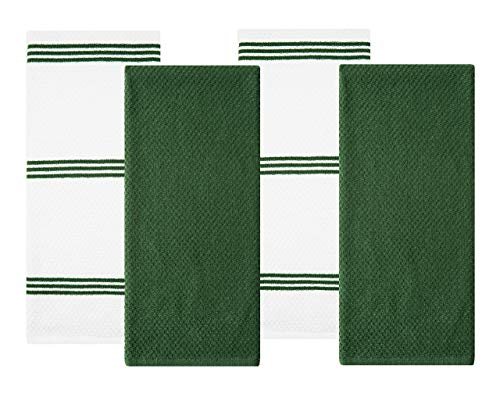 Sticky Toffee Cotton Terry Kitchen Dish Towel, 4 Pack, 28 in x 16 in, Dark Green Stripe
