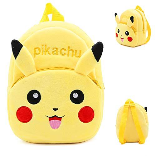 Mochila escolar infantil Pokemon felpa - BAIBEI, Adecuado para mochilas de niñas y niños Mini mochila escolar de dibujos animados de animales Adecuado para niños de 1 a 4 años