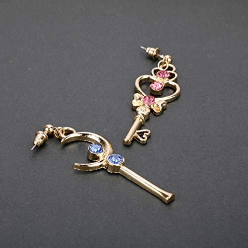 N\A Luna con Forma de corazón Dangle Stud Pendientes con Diamante de aleación, Pendientes Colgantes para Mujeres y niñas Fecha de Regalo Joyería