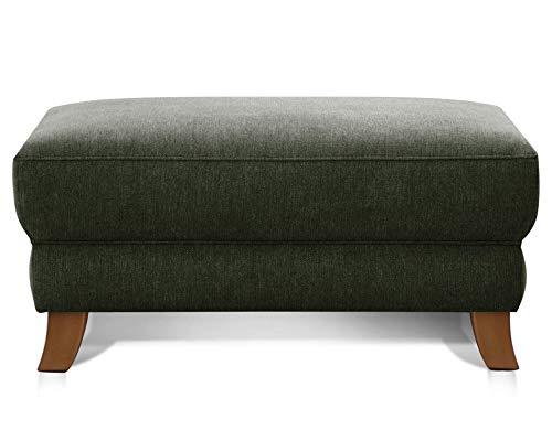 Cavadore Hocker Trond / XXL-Fußbank im Landhausstil / Modernes Design / 101 x 48 x 66 / Flachgewebe grün