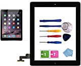 for iPad 2 Glass Touch Screen Digitizer Replacement Kit Black A1395 A1396 A1397 with Home Button Flex, Adhesive Tape, Midframe Bezel, Screen Protector, Instruction Manual,and Repair Toolkit