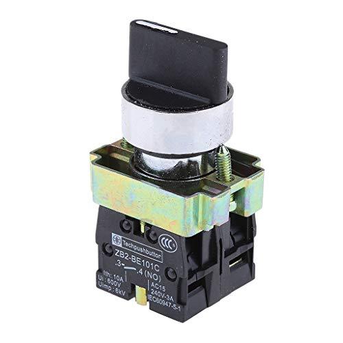 prasku 22mm AC 600V 10A 2NO 3 Posiciones Selector Giratorio Interruptor de Botón de Bloqueo Automático
