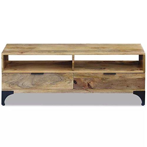 Tidyard Fernsehtisch Mangoholz 120x35x45 cm TV/Hi-Fi Lowboard TV Stand TV Cabinet Mango Wood Antique Industrial