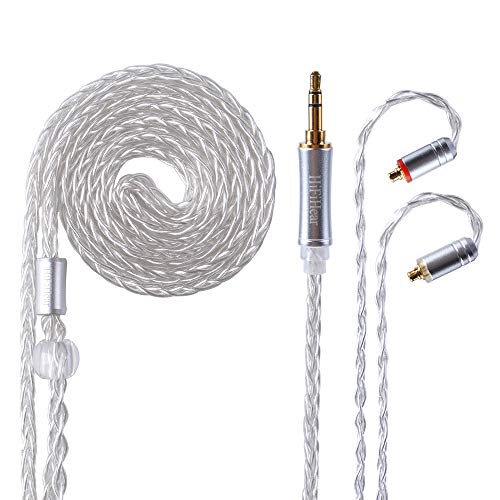 Better Upgraded Silver Plate Replacement Cable,8 Core Headset Braided Silver Plated Wire Upgrade Earphone Cable for SHURE UE900 SE215 SE315 SE846 SE535 TIN Audio T2 f9 LZ etc.(Silver- MMCX 3.5mm)