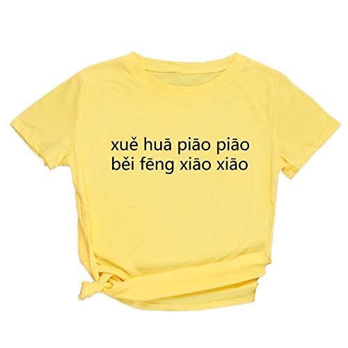 Masrin T-shirt à manches courtes pour femme M jaune