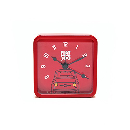 Fiat 500 fior34 Horloge de Table carré, métal, Rouge, 8 x 8 x 3 cm
