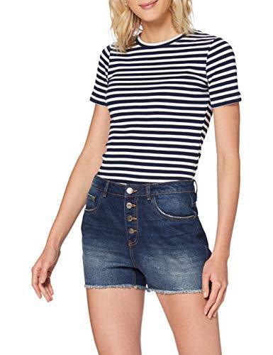 ONLY Damen ONLPHINE Life BTN Dest BB BJ741 Jeans-Shorts, Dark Blue Denim, S