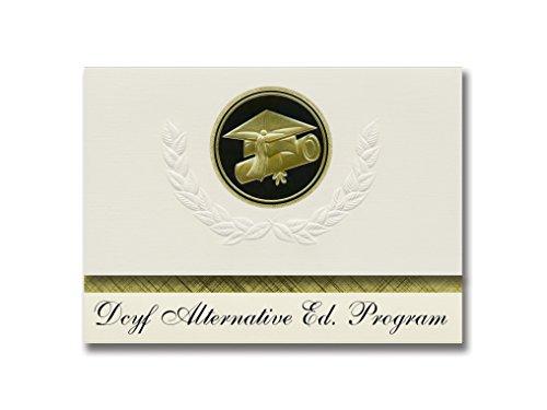 Signature Announcements Dcyf Alternative Ed Programm (Cranston, RI) Abschluss-Ankündigungen, Presidential Style, Elite Paket mit 25 Cap & Diplom-Siegel, Schwarz & Gold