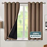 BGment Thermal Insulated 100% Blackout Curtains for Bedroom with Black Liner, Double Layer