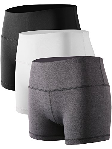 Cadmus Women's Stretch Fitness Running Shorts with Pocket,3 Pack,05,Black,Grey,White,Small