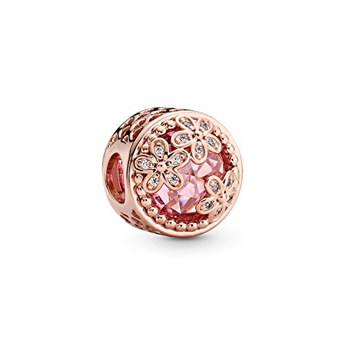 LILANG Pulsera de joyería Pandora 925, Cuentas de Flores de Primavera Pandach Naturales, dijes de Plata esterlina para Mujer, Regalo DIY