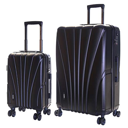 Karabar Set of 2 Hard Shell Luggage Bags Suitcases Cabin Carry-on and Extra Large 4 Spinner Wheels TSA Number Lock, Seashell Black