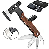 Multitool Axe, Bravedge 12 in 1 Pocket Hatchet Camping Tool, Gifts for Men Survival Gear with 3'' Knife, Hammer, Opener, Screwdriver Kit, Stainless Steel Multi Tool for Camping, Survival, Hunting