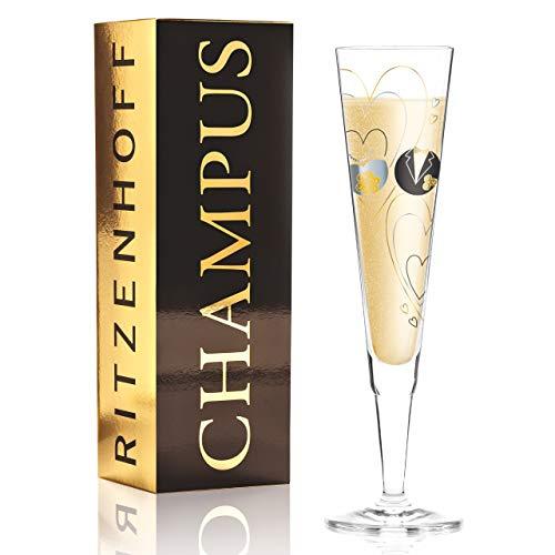 RITZENHOFF 1070254 Champus Champagnerglas, Kristallglas, Schwarz, Gold, Platin