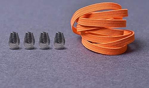 RSS schoenveters 1 paar metalen kop platte veters geen stropdas veters kinderen volwassenen snel veters elastisch turnschoenen kant 21 kleuren lakken baskets (kleur: oranje)