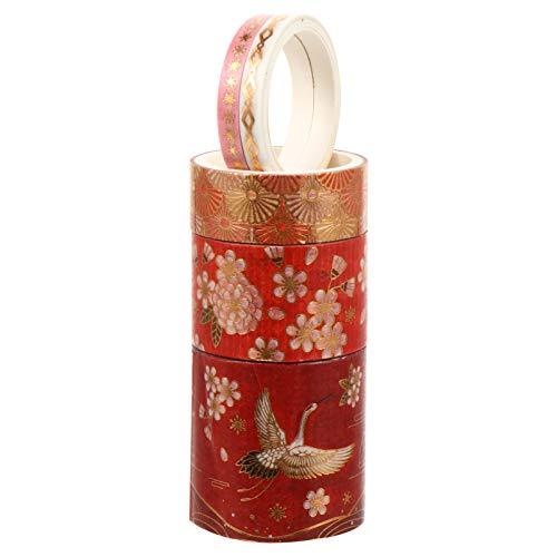 HEALLILY 5 Rollen Washi Tape Washitape Dekoratives Klebeband Chinesischer Stil Masking Tape Dekoband Etiketten für Kinder Scrapbooking DIY Handwerk Ochse Neujahr Silvester Geschenke