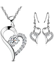 Sterling silver jewelry set Heart shaped
