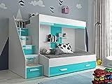 Etagenbett für Kinder PARTY 16 Stockbett mit Treppe und Bettkasten KRYSPOL (Weiß + Türkisglanz)