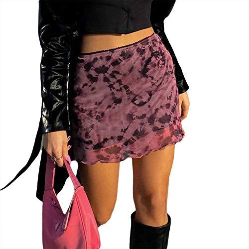 Mujer Goth Y2k Faldas de cintura alta Tie Dye Impresión Mini Faldas Harajuku Encaje Bodycon Lápiz Falda