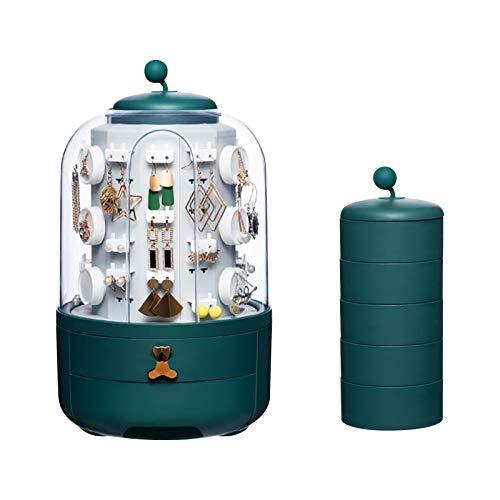Home Jewelry - Caja de almacenamiento para joyas y pendientes y collares con compartimento móvil de gran capacidad (verde, núcleo interior giratorio de cinco capas)