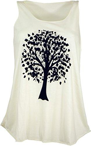Guru-Shop Tanktop mit Ethnodruck, Damen, Baum des Lebens Creme, Synthetisch, Size:38, Tops & T-Shirts Alternative Bekleidung