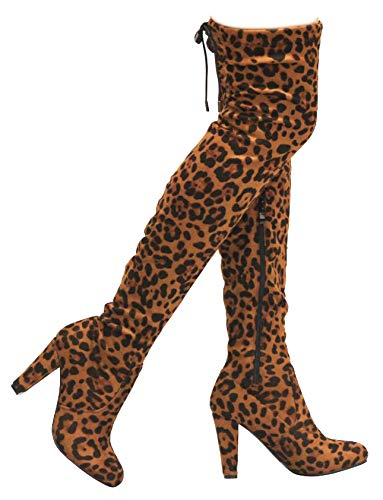 MVE Shoes Women's Stretch Thigh High Heeled Boots, EVE-01 Leopard 10