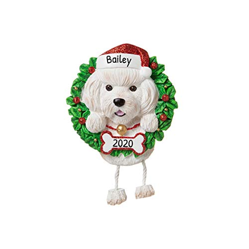 Personalized Bichon Frise Pure Breed Christmas Tree Ornament 2020 - Fluffy Dog Dangle Paw Santa Hat Cheer Happy Energetic Smart Intelligent Play Fur-Ever New Loyal Family R.i.p. - Free Customization