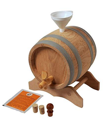 Moonshiners Choice Holzfass 1 Liter mit Zubehör - Top Geschenkidee zum Selber füllen - Eichenholzfass