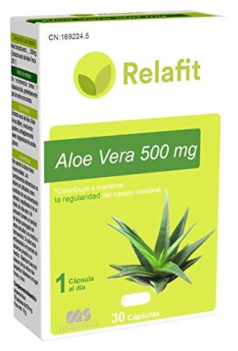 Aloe Vera 500 mg – 30 Cápsulas   Relafit - Laboratorios MS   Dosis 1 Mes   Aloe Vera Puro   Tratamiento eficaz contra el estreñimiento y acelera la digestión