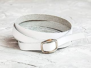 Leather Life 910, White Leather Bracelet, Wrap Wide Cuff, Women Engraving Bracelet, Men Wrist Band, Birthday Gift For Her, Simple Unisex Bracelet, Double 8060w