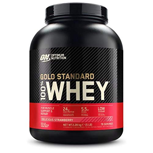 Optimum Nutrition 100% Whey Gold Standard, 5 LB Dose (Delicious Strawberry)