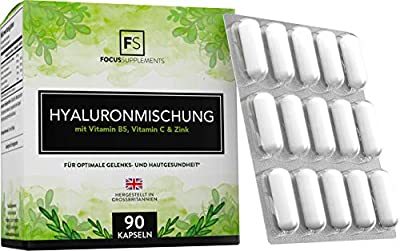 Hyaluronic Acid Capsules [350mg] Anti-Ageing Supplement with Vitamin C, Vitamin B5, Zinc | for Joint & Skin Health | 90 Vegan Tablets | Free from GMOs, Gluten, Dairy and Wheat
