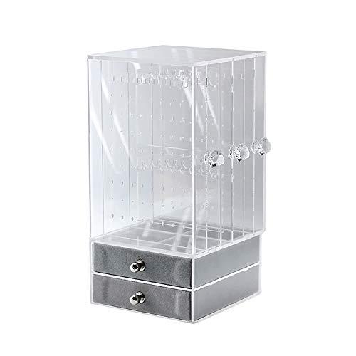 Hui JIN Organizador de almacenamiento de joyas clásico organizador de aparador de doble capa collar caja de almacenamiento transparente