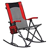 PORTAL Oversized Quad Folding Padded Camping Chair High Back Hard Armrest Storage Pockets Carry Bag Included, Support 300 lbs, Red
