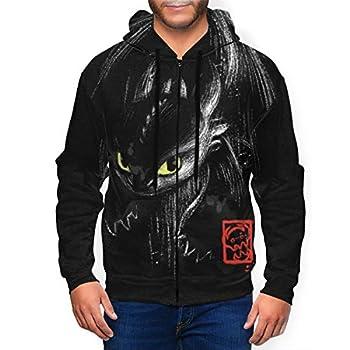 Men s Tooth-Less Ink Zip Up Hoodie-Novelty Hooded Jacket Sweatshirts Lightweight Hoodies with Pockets XL Black