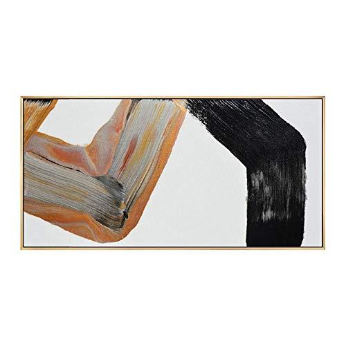 Pintura Al Óleo Pintada A Mano Sobre Lienzo,Cuchilla De Paleta De Pintura De Paisaje,Negro Grafito Gris Y Naranja,Moderno Lujoso Gran Pared Arte Abstracto Decoracion Para Interiores Salón Dormitorio
