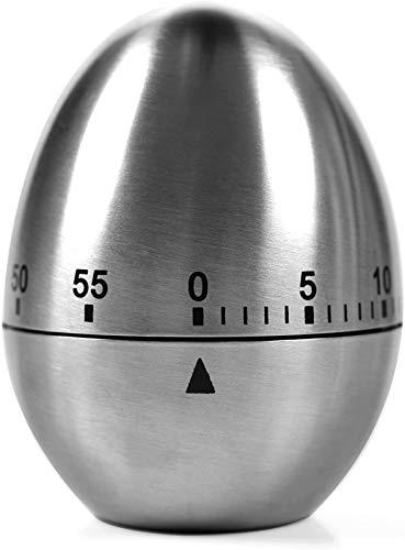 Küche Kurzzeitmesser - Analoger Kurzzeitmesser mit Timer-Funktion, Eieruhr, Edelstahl, Silber